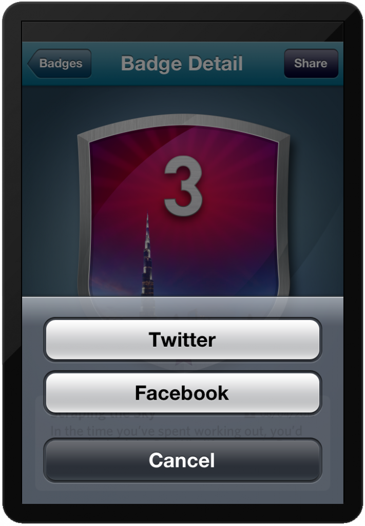 Preva Share Badge to Facebook or Twitter