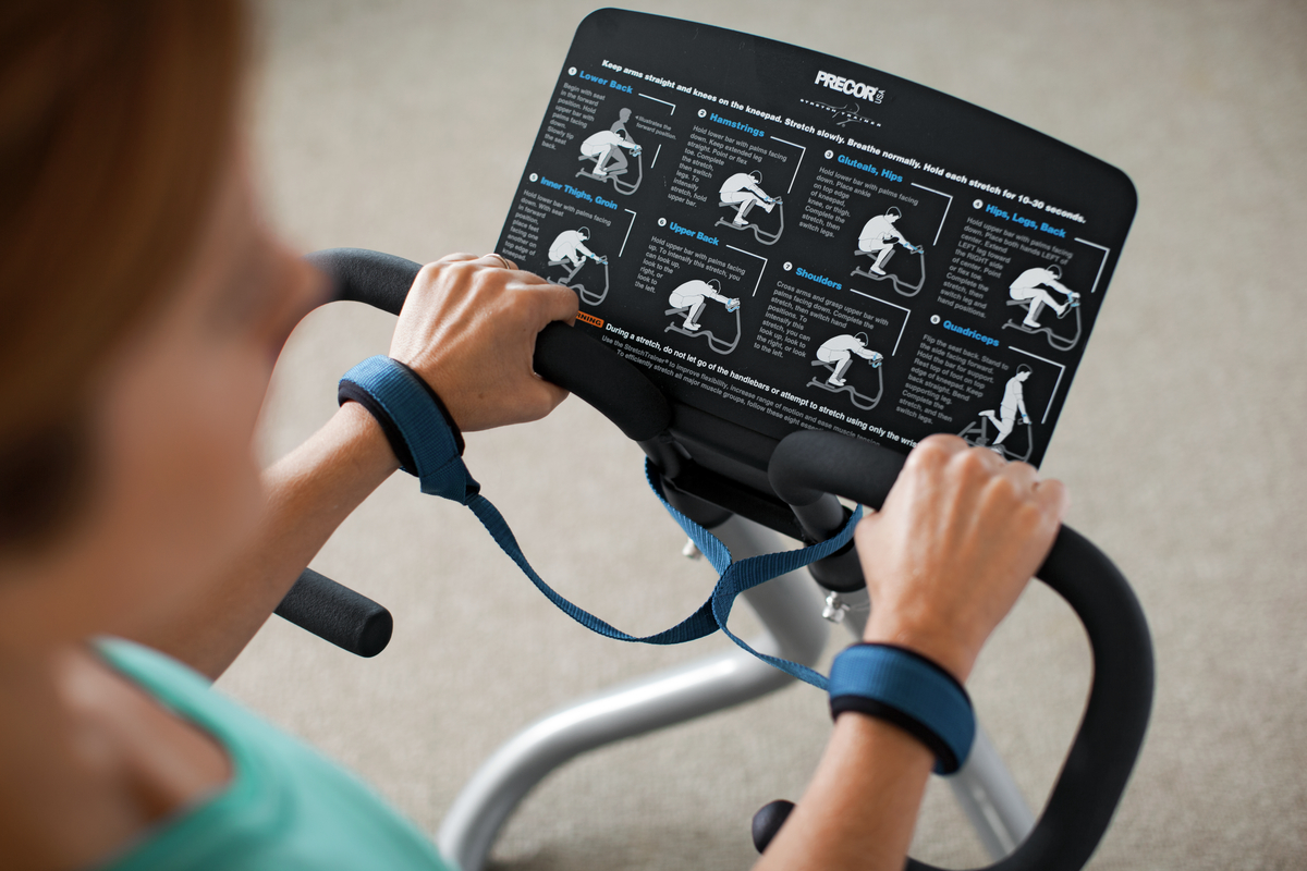 Close-up image of the instructional placard of the Precor 240i StretchTrainer