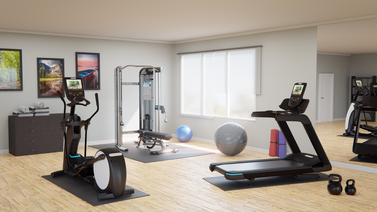 Home gym with a Precor TRM 781 treadmill, EFX 885 elliptical, and FTS Glide Functional with adjustable benchTraining System